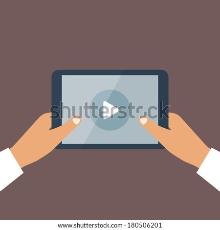 Business man holds in hand black tablet pc with opened online media player and round button at center of screen. Mobile technology concept illustration in flat style