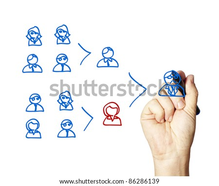 Business man illustrating a team leaders key role. - stock photo