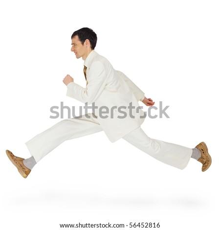 Business man in a hurry runs forward - stock photo