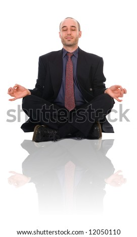 business man in a meditation position on white - stock photo