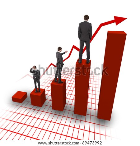business man in black suit climbing financial charts - stock photo