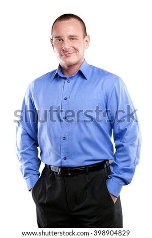 Business man in blue shirt standing apron isolated over white background.