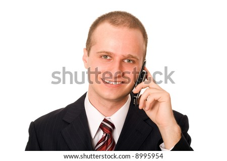 Business man in dark suit talking on the phone