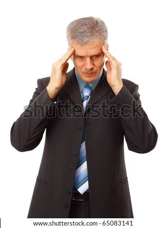 Business man in depression with hand on forehead, isolated over white - stock photo