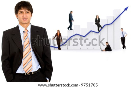 business man in front of a group of business people with a chart representing growth and success - isolated over a white background - stock photo