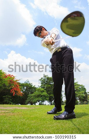 Business man in golf player - stock photo