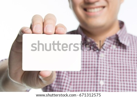 business man in hand hold show blank white card mock up with rounded corners. Plain call-card mock up template holding arm. Plastic credit name card display front. Business branding concept.