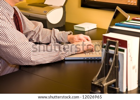 business man in home office - stock photo