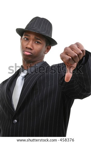 Business Man In Pin Striped Suit & Hat Giving Thumbs Down.