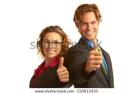 business man in suit giving the big thumbs up isolated on white background. horizontal shot. - stock photo