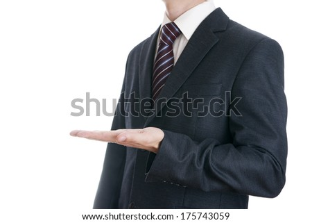 Business man in suit on white background.
