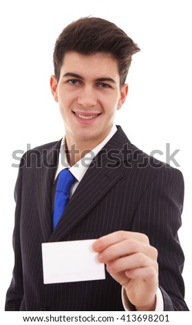 Business man in suit showing his blank business card ready for your text / photos of young businessman wearing a suit and tie over white background - stock photo