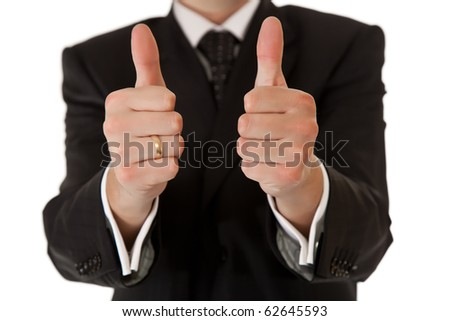 Business man in suit thumbs up on white isolated background - stock photo