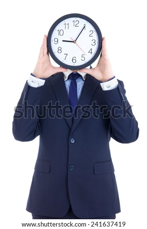 business man in suit with clock covering face isolated on white background