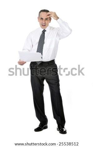 Business man in suit with confused expression holding papers - stock photo