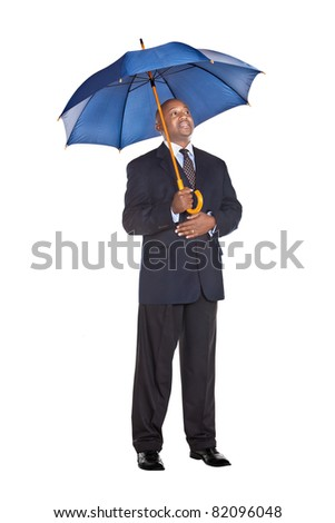 business man in suit with umbrella  isolated on white - stock photo