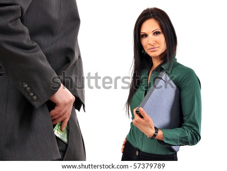 Business man is bribing a female colleague.