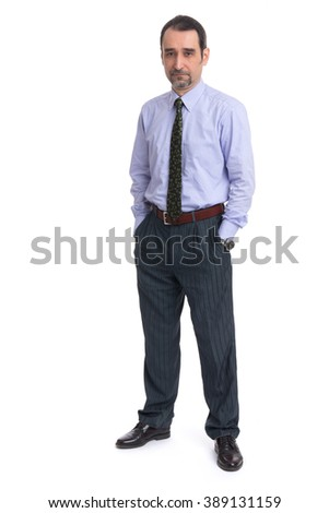 Business man is in full  length over a white background. - stock photo