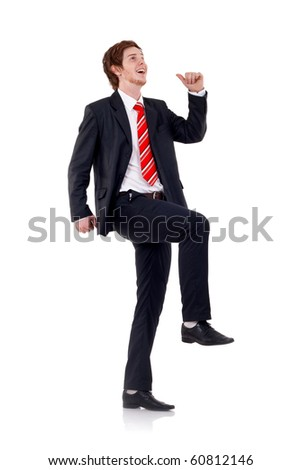 Business man is making step on invisible stair - stock photo