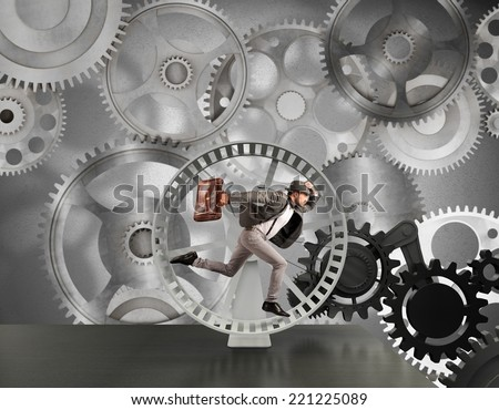 Business man is part of business mechanism system - stock photo