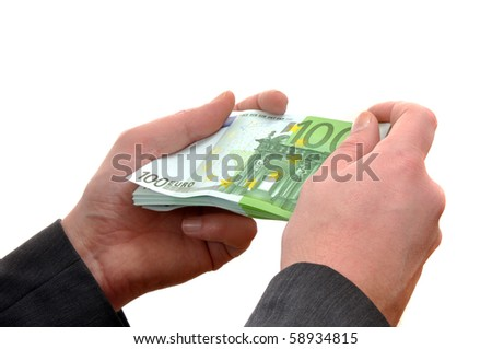 Business man is paying with euro banknotes, financial background