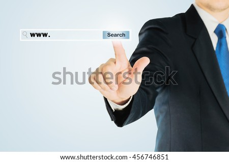 Business man is pushing SEARCH transparent button internet address bar over white background, business technology concept