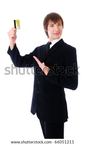 business man is showing to the credit card. Isolated at white background