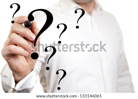 business man is writing on the screen the question mark - stock photo