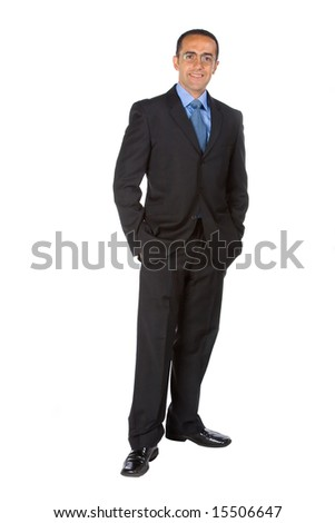 Business man isolated in white background.