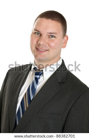 Business man isolated on a white background - stock photo