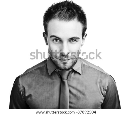 business man. Isolated over white background. Black-white photo. - stock photo