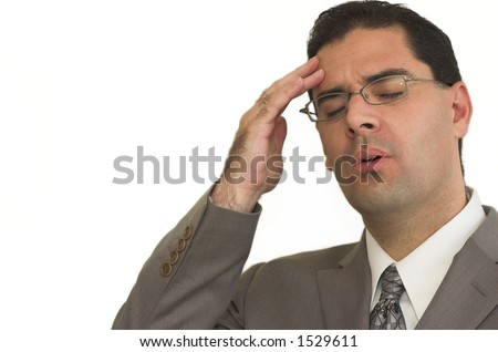 Business man isolated tries to remember after he forgot something important - stock photo