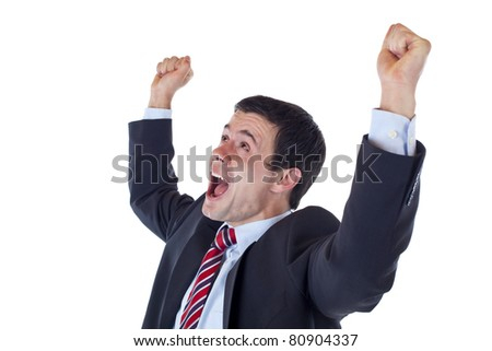 Business man jubilates with raised arms and clenched fists. Isolated on white background. - stock photo
