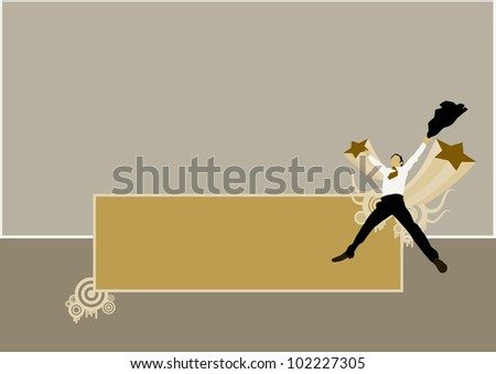 Business man jump background with space (poster, web, leaflet, magazine) - stock photo
