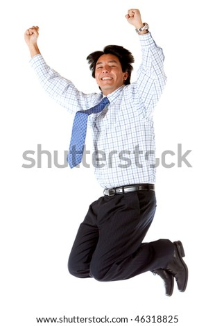 Business man jumping isolated over a white background - stock photo