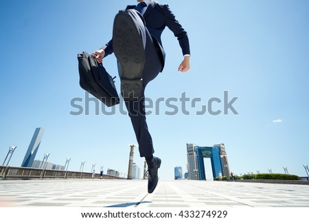 business man jumping on the road                                - stock photo