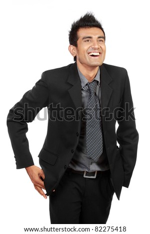 business man laughing isolated on white background - stock photo