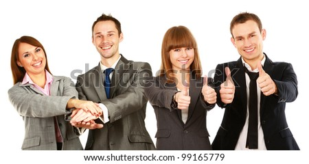Business man leading a successful corporate group - stock photo