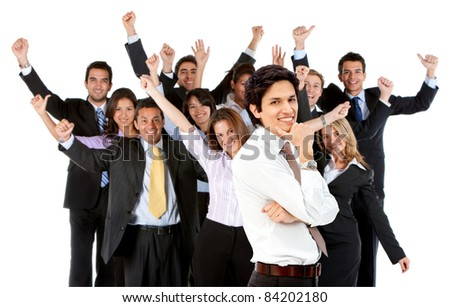 Business man leading a successful corporate group ? isolated - stock photo