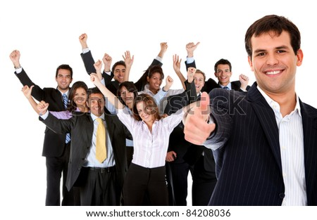 Business man leading a successful corporate group with thumbs up ? isolated - stock photo