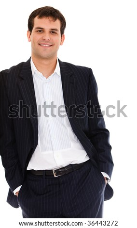 Business man leaning on a wall isolated