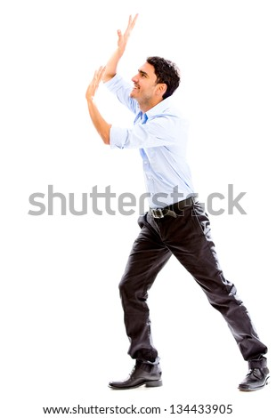 Business man lifting something - isolated over a white background - stock photo