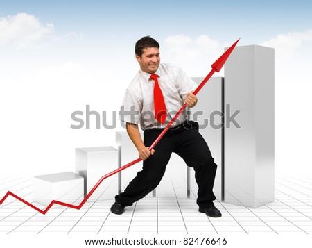 Business man lifting up a financial graph arrow - Business improvement concept - stock photo