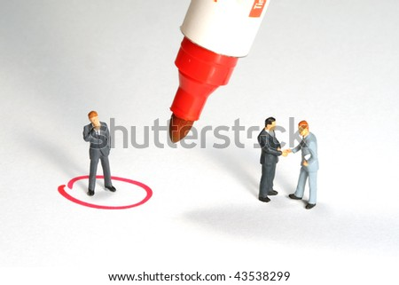 Business man limited on a circle separated of the deal - stock photo