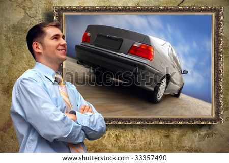 Business man look on picture with car on the grunge background - stock photo
