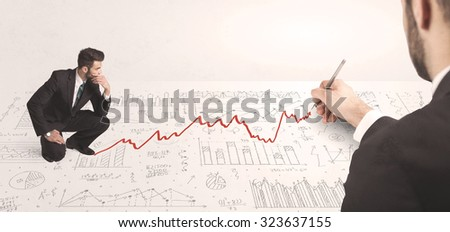 Business man looking at red arrow drawn by a hand concept on background - stock photo
