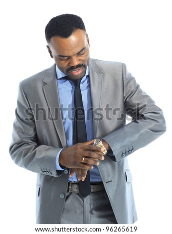 business man looking at the time - stock photo