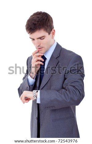 business man looking at the time and being worried, over white - stock photo