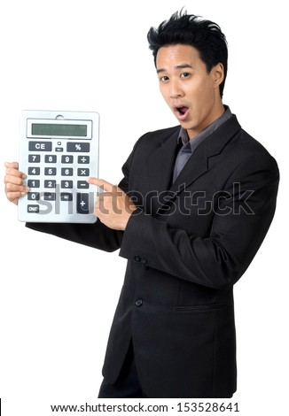 Business man Made frightened and Hold Calculator isolated