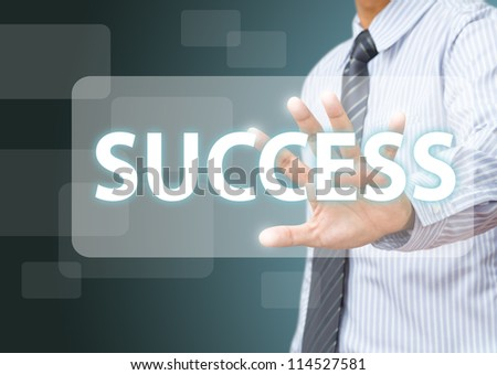 business man make success on touch screen